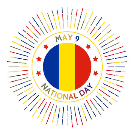 Romania national day badge. Romanias declaration of its independence. Celebrated on May 9.