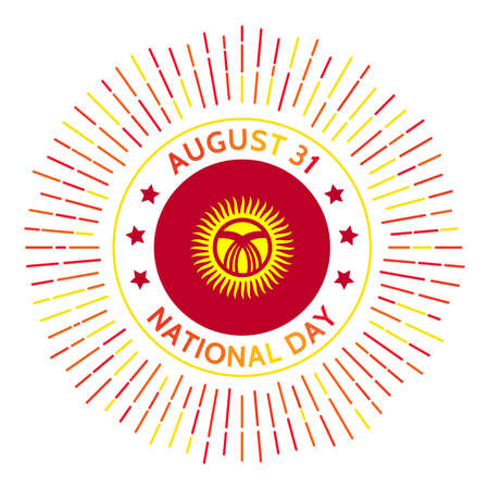 Kyrgyzstan national day badge. Independence from USSR in 1991. Celebrated on August 31.