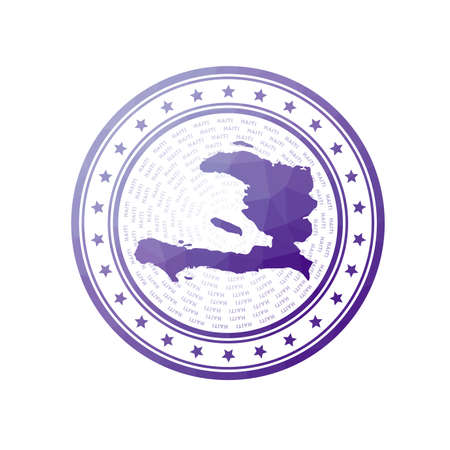 Flat low poly stamp of Haiti. Polygonal Haiti badge. Trendy vector   of the country.