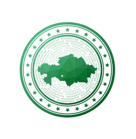 Flat low poly stamp of Kazakhstan. Polygonal Kazakhstan badge. Trendy vector   of the country.