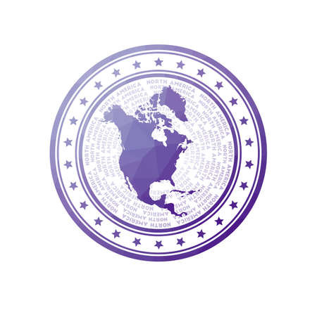 Flat low poly stamp of North America. Polygonal North America badge. Trendy vector   of the continent.