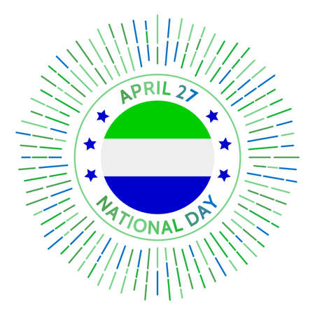 Sierra Leone national day badge. Independence from the United Kingdom in 1961. Celebrated on April 27.