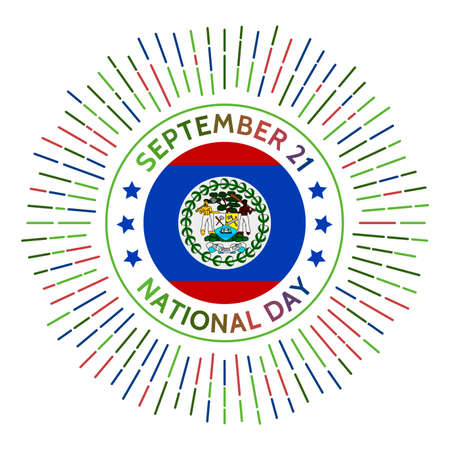 Belize national day badge. Independence from the United Kingdom in 1981. Celebrated on September 21. Illusztráció
