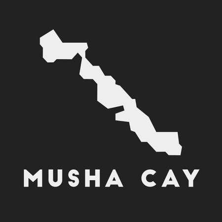 Musha Cay icon. Island map on dark background. Stylish Musha Cay map with island name. Vector illustration. 일러스트