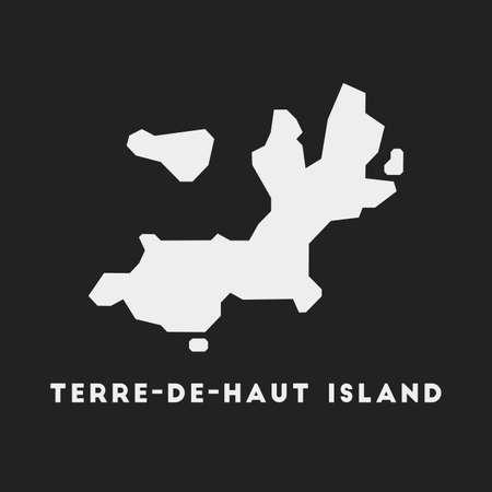 Terre-de-Haut Island icon. Island map on dark background. Stylish Terre-de-Haut Island map with island name. Vector illustration.