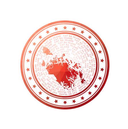 Flat low poly stamp of Cat Ba Island. Polygonal Cat Ba Island badge. Trendy vector   of the island.