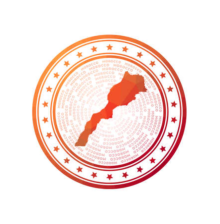 Flat low poly stamp of Morocco. Polygonal Morocco badge. Trendy vector   of the country.