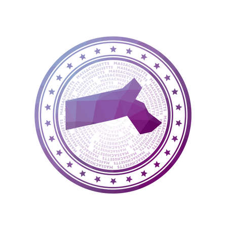 Flat low poly stamp of Massachusetts. Polygonal Massachusetts badge. Trendy vector   of the us state.