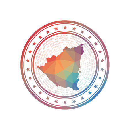 Flat low poly stamp of Nicaragua. Polygonal Nicaragua badge. Trendy vector   of the country. 일러스트