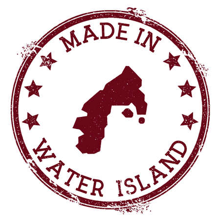 Made in Water Island stamp. Grunge rubber stamp with Made in Water Island text and island map. Posh vector illustration.