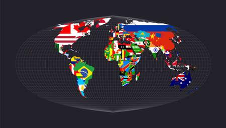 Map of the world with flags. Foucauts sinusoidal projection. Map of the world with meridians on dark background. Vector illustration. Illusztráció