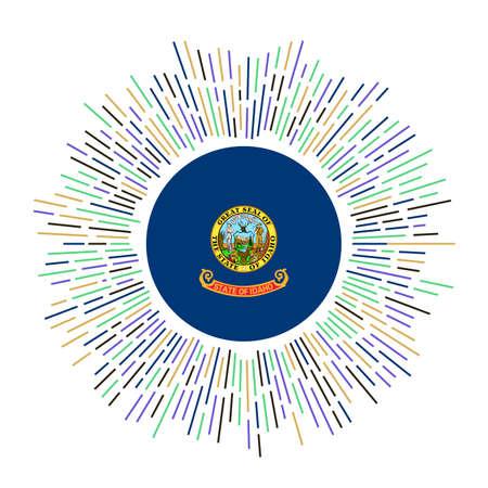 Idaho sign. Us state flag with colorful rays. Radiant sunburst with Idaho flag. Vector illustration.