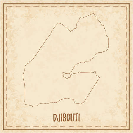 Pirate map of Djibouti. Blank vector map of the Country. Vector illustration. Illustration