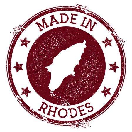 Made in Rhodes stamp. Grunge rubber stamp with Made in Rhodes text and island map. Attractive vector illustration.