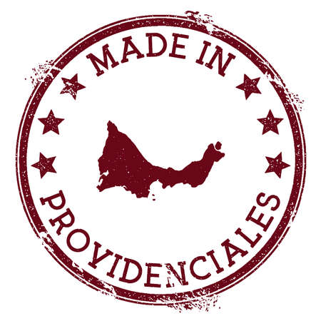 Made in Providenciales stamp. Grunge rubber stamp with Made in Providenciales text and island map. Amazing vector illustration.