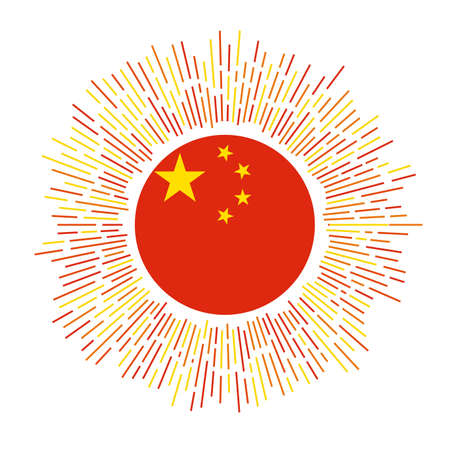 China sign. Country flag with colorful rays. Radiant sunburst with China flag. Vector illustration.