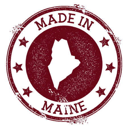Made in Maine stamp. Grunge rubber stamp with Made in Maine text and us state map. Authentic vector illustration. Illusztráció