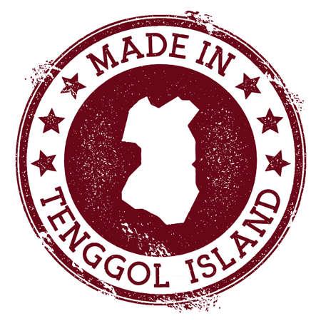 Fatto nel timbro dell'isola di Tenggol. Timbro di gomma grunge con testo Made in Tenggol Island e mappa dell'isola. Illustrazione vettoriale magnetico. Vettoriali