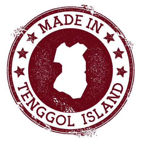 Gemaakt in Tenggol Island stempel. Grunge Rubberstempel met Made in Tenggol Island-tekst en eilandkaart. Magnetische vectorillustratie. Vector Illustratie