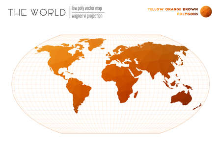 World map in polygonal style. Wagner VI projection of the world. Yellow Orange Brown colored polygons. Energetic vector illustration.