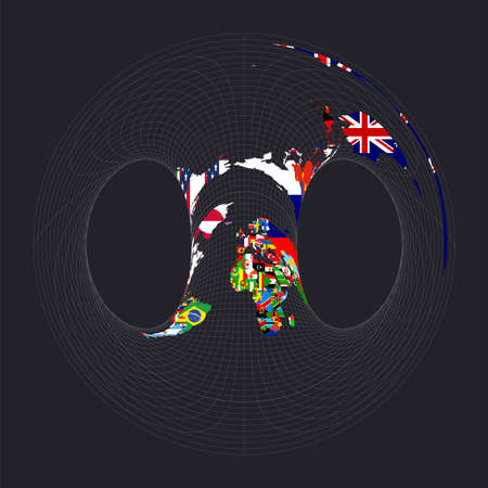 Map of the world with flags. Hammer retroazimuthal projection. Map of the world with meridians on dark background. Vector illustration.