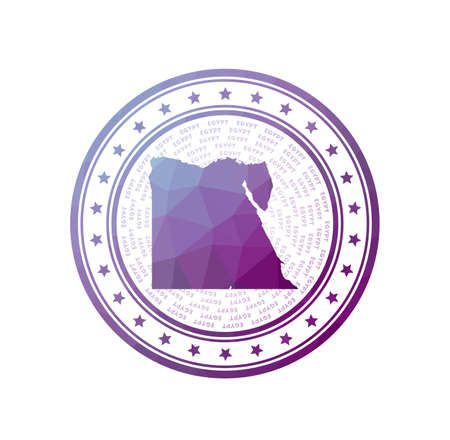 Flat low poly stamp of Egypt. Polygonal Egypt badge. Çizim