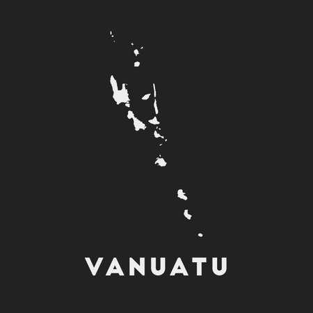 Vanuatu icon. Country map on dark background. Stylish Vanuatu map with country name. Vector illustration.