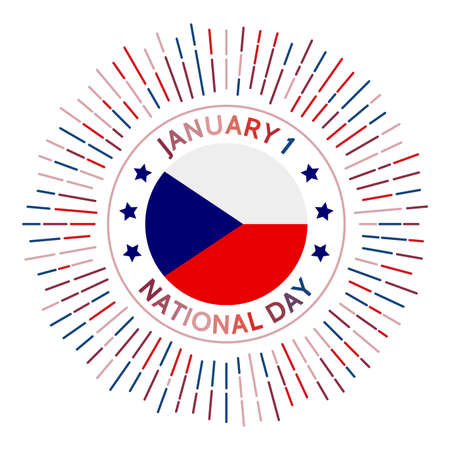 Czech Republic national day badge. Czech Republic after the split of Czechoslovakia in 1993. Celebrated on January 1.