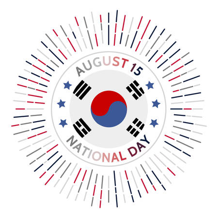 South Korea national day badge. Liberation from the Empire of Japan in 1945. Celebrated on August 15.