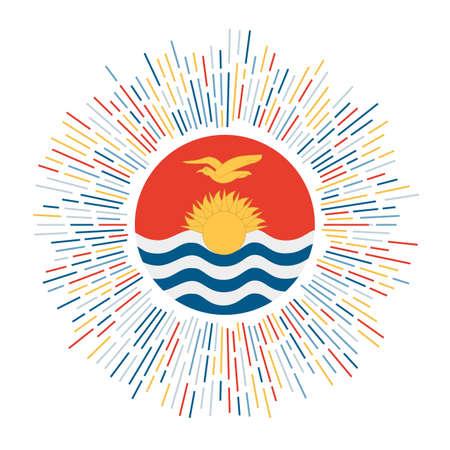 Kiribati sign. Country flag with colorful rays. Radiant sunburst with Kiribati flag. Vector illustration.
