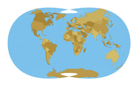 World Map. Laskowski tri-optimal projection. Map of the world with meridians on blue background. Vector illustration.