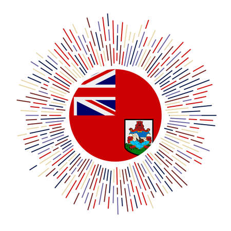 Bermuda sign. Country flag with colorful rays. Radiant sunburst with Bermuda flag. Vector illustration.