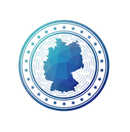 Flat low poly stamp of Germany. Polygonal Germany badge. Trendy vector icon of the country.