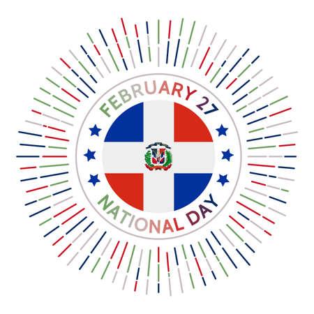 Dominicana Nationalfeiertagsabzeichen. Unabhängigkeit von Spanien am Dezember 1821. Gefeiert am 27. Februar. Vektorgrafik