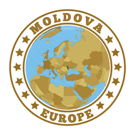 Round badge of country with map of Moldova in world context. Country sticker stamp with globe map and round text. Vector illustration. Vektorové ilustrace