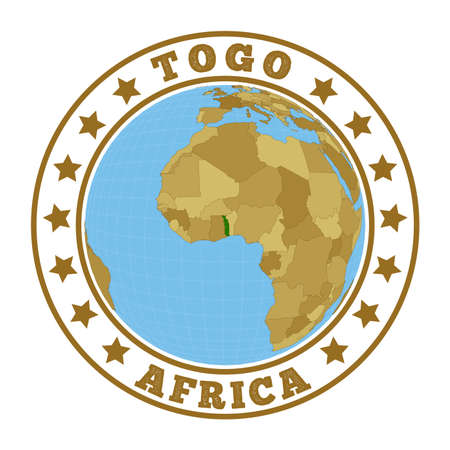 Round badge of country with map of Togo in world context. Country sticker stamp with globe map and round text. Vector illustration.