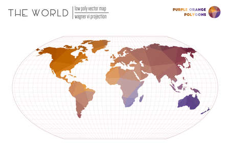 Polygonal map of the world. Wagner VI projection of the world. Purple Orange colored polygons. Energetic vector illustration.