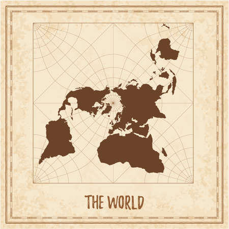 Old world map. Peirce quincuncial projection. Medieval style treasure map. Ancient land navigation atlas. Vector illustration.