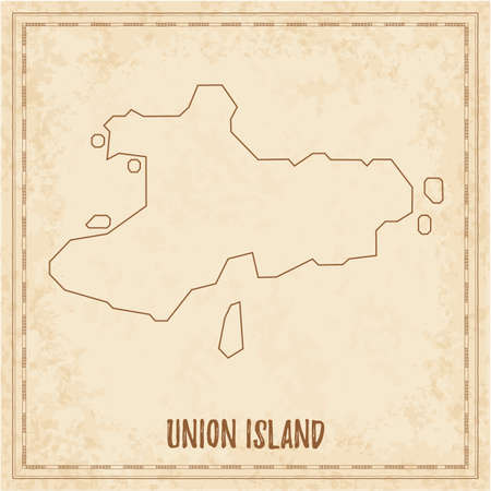 Pirate map of Union Island. Blank vector map of the Island. Vector illustration.