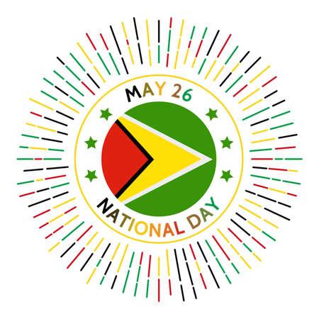 Insignia del día nacional de Guyana. Independencia del Reino Unido en 1966. Se celebra el 26 de mayo. Ilustración de vector