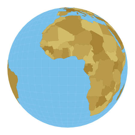 World Map. Satellite (tilted perspective) projection. Map of the world with meridians on blue background. Vector illustration.