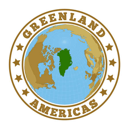 Round badge of country with map of Greenland in world context. Country sticker stamp with globe map and round text. Vector illustration.
