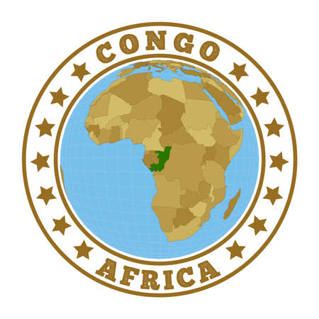 Round badge of country with map of Congo in world context. Country sticker stamp with globe map and round text. Vector illustration.