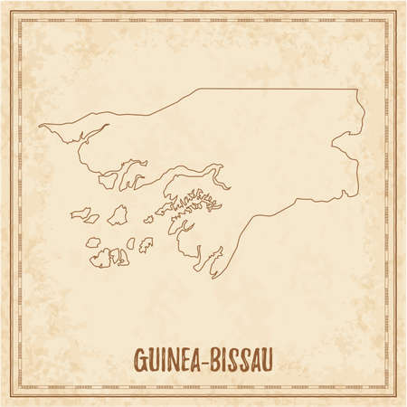 Pirate map of Guinea-Bissau. Blank vector map of the Country. Vector illustration. 일러스트