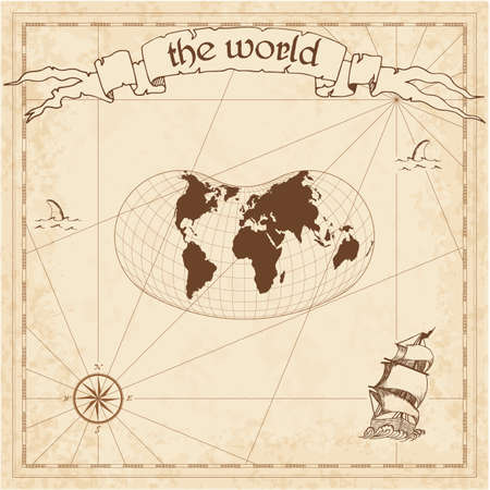 World pirate map. Ancient style navigation atlas. Hill eucyclic projection. Old map vector. 일러스트