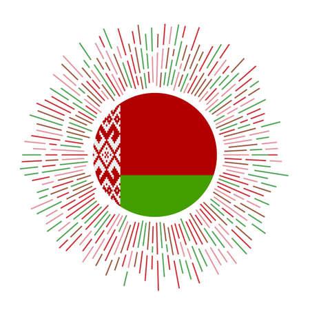 Belarus sign. Country flag with colorful rays. Radiant sunburst with Belarus flag. Vector illustration. Foto de archivo - 138467341