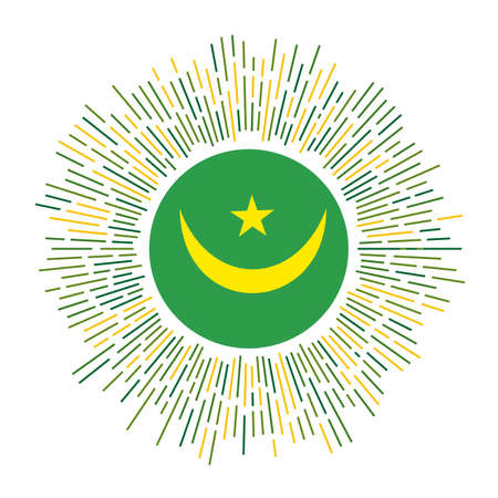 Mauritania sign. Country flag with colorful rays. Radiant sunburst with Mauritania flag. Vector illustration.