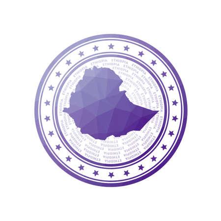 Flat low poly stamp of Ethiopia. Polygonal Ethiopia badge. Trendy vector Foto de archivo - 138467346