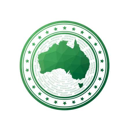 Flat low poly stamp of Australia. Polygonal Australia badge. Trendy vector Foto de archivo - 138467349