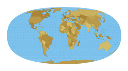 World Map. Waldo R. Tobler's hyperelliptical projection. Map of the world with meridians on blue background. Vector illustration.
